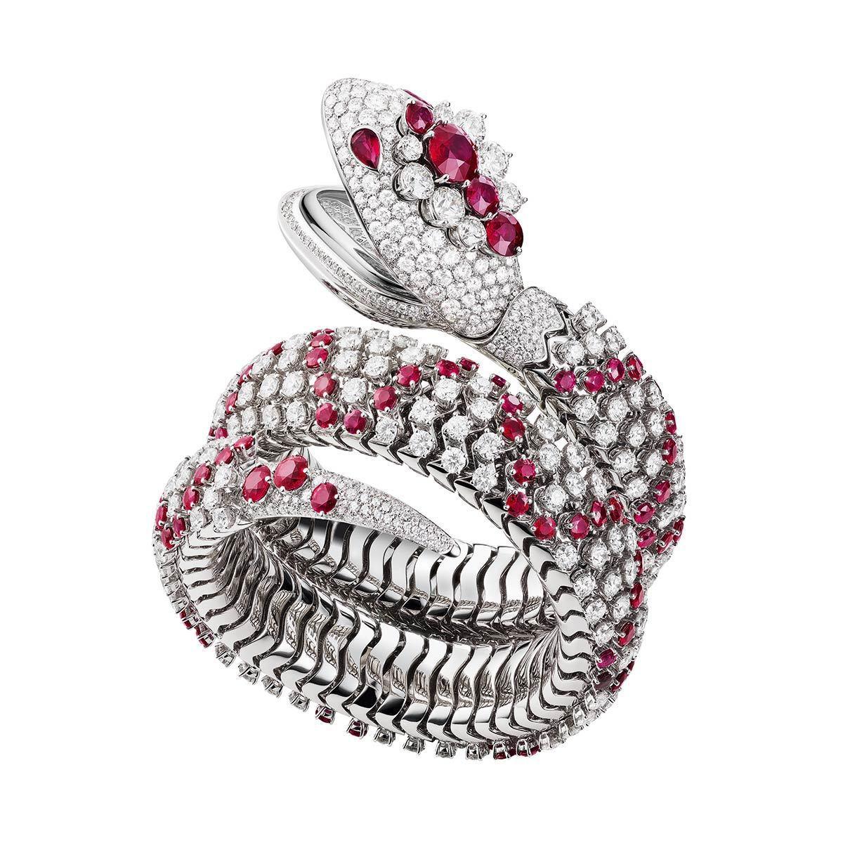 寶格麗Serpenti Misteriosi Pallini頂級珠寶表,18K白...