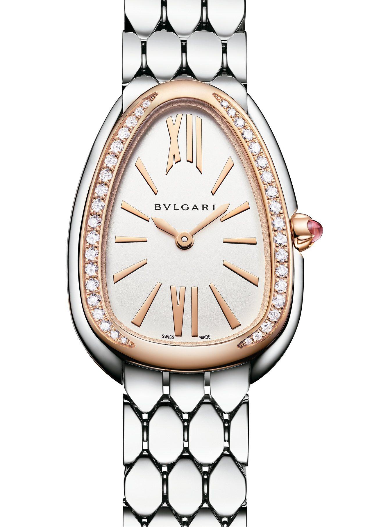寶格麗Serpenti Seduttori系列不鏽鋼腕表,18K玫瑰金、不鏽鋼表...