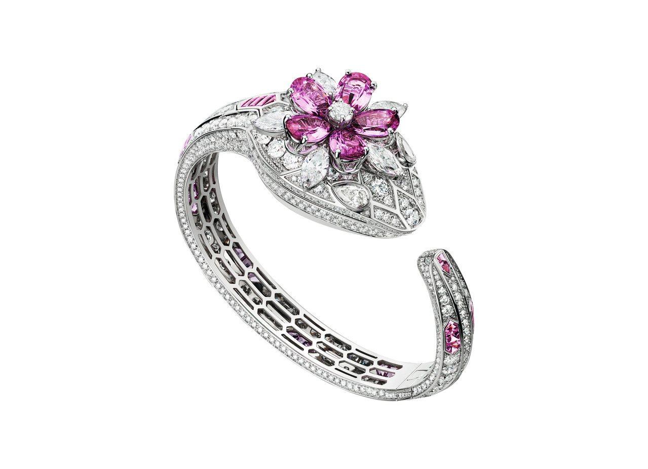 寶格麗Serpenti Misteriosi頂級鑽石與粉紅剛玉珠寶腕表,18K白...