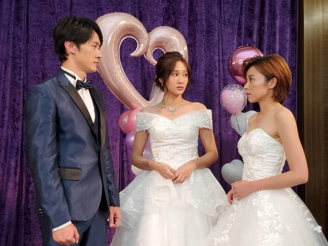 王瞳終於趕上馬俊麟(左起)、邱子芯婚禮,搶婚成功。圖/民視提供