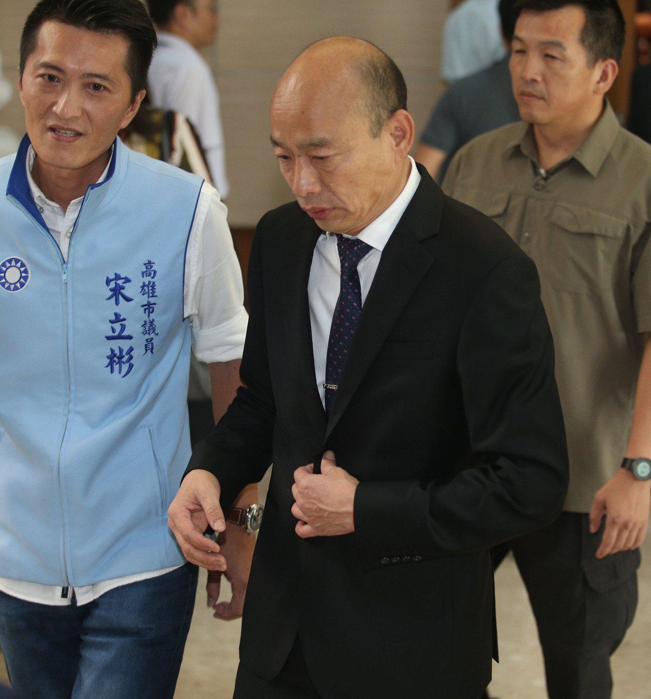 高雄市長韓國瑜今天到議會進行施政報告。記者劉學聖/攝影
