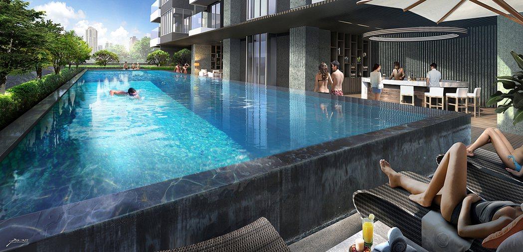 休閒設施有游泳池、SPA池等,住戶擁有宛如住飯店的居家氛圍。 圖片提供/興富發建...