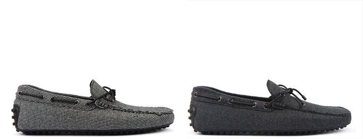 TOD'S蝴蝶繫帶千鳥紋格印花羊毛豆豆鞋。 圖/TOD'S 提供