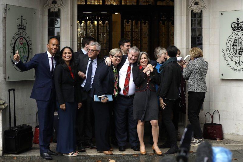 9月24日,英國首相強森關閉國會五週的決定,最高法院認定於法不合。圖為反脫歐派代...
