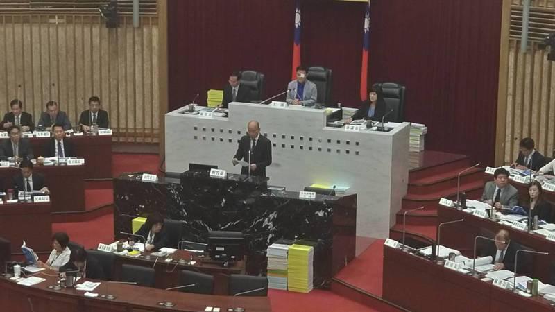 高雄市長韓國瑜今上午到議會進行施政報告。記者蔡孟妤/攝影