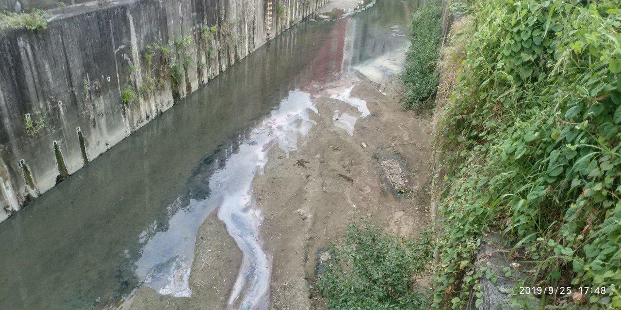 鳳山溪河面有浮渣現象。圖/高雄市環保局提供
