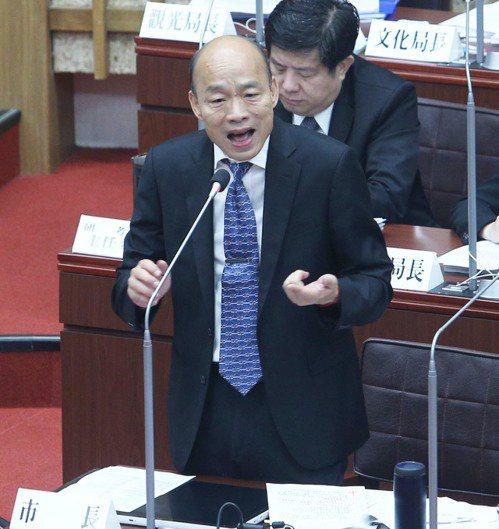高雄市長韓國瑜到議會進行施政報告與質詢。 記者劉學聖/攝影