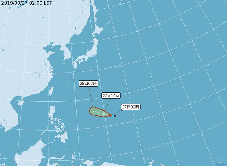 熱帶性低氣壓有機會在今晚到明天發展成今年第18號颱風米塔。圖/中央氣象局提供