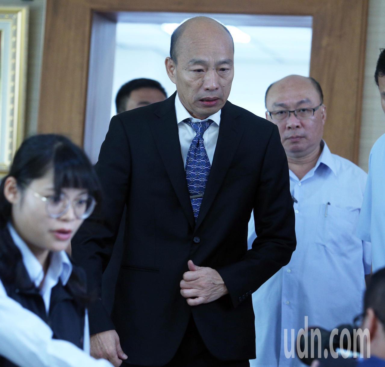 高雄市長韓國瑜今天上午到議會進行施政報告與質詢。記者劉學聖/攝影