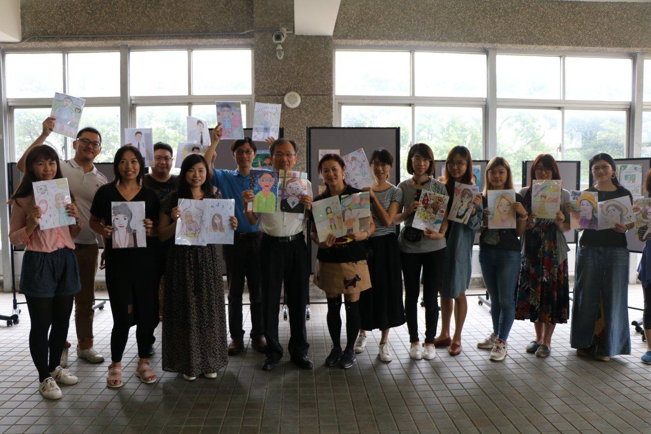 六和高中「畫我老師表謝恩」活動,學生將老師平日的形象繪於紙上。圖/六和高中提供
