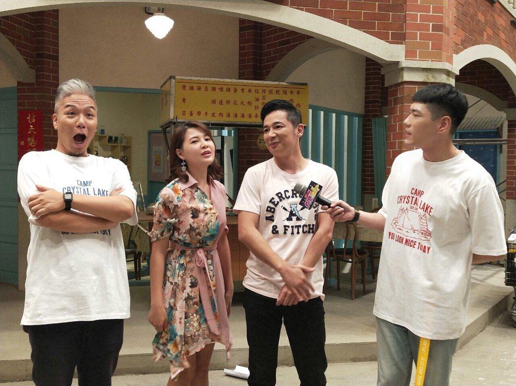 阿甘(左起)、謝京穎、成潤、小路暢談「大時代」殺青後計劃。圖/民視提供