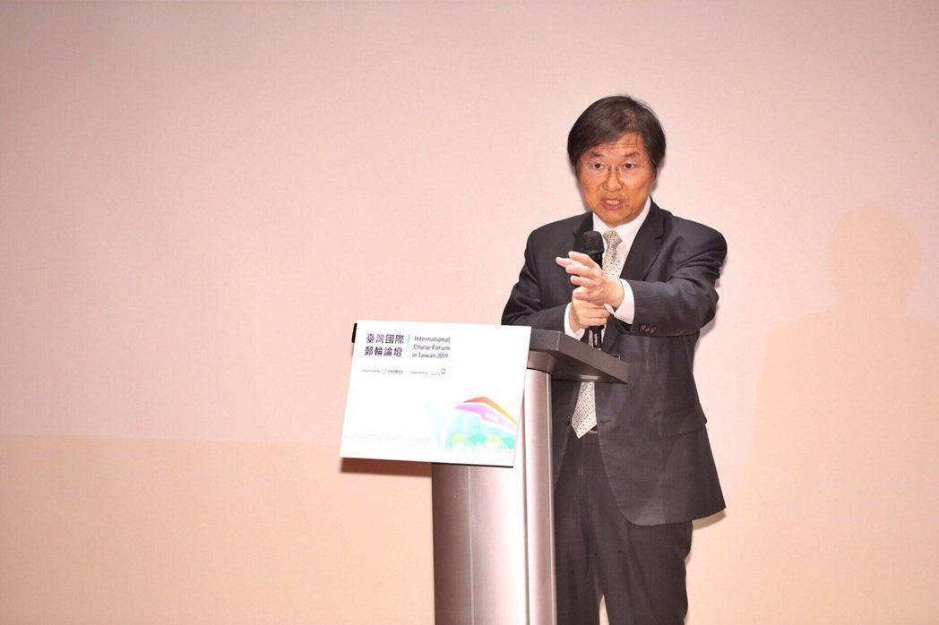 交通部祁文中常務次長,出席2019臺灣國際郵輪論壇開幕式。觀光局/提供