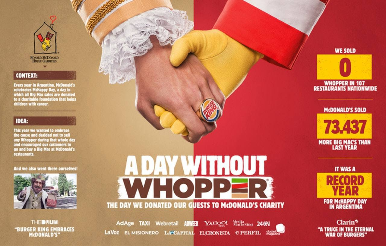 阿根廷Burger King近日推出新海報,大字寫着「A Day Without...