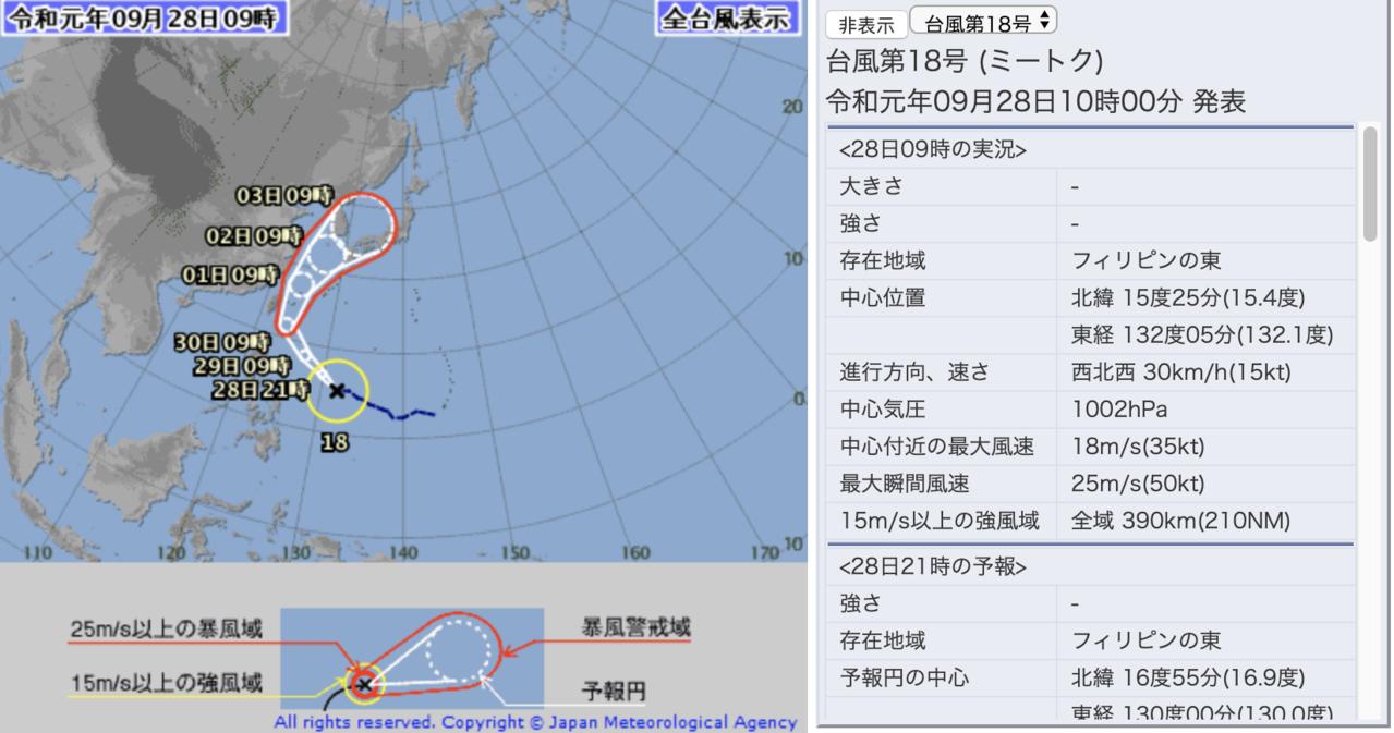 日本氣象廳宣布第18號颱風米塔形成。圖/取自日本氣象廳官網