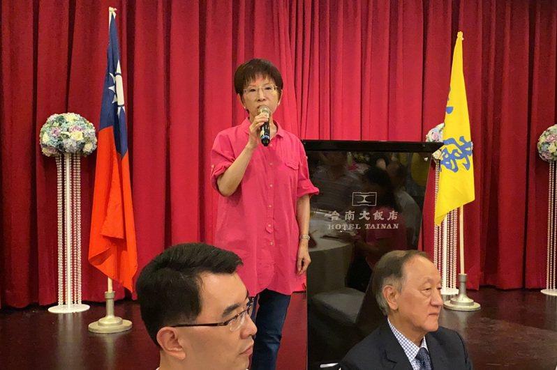 國民黨前主席洪秀柱今晚出席新黨全代會聯誼餐會。記者鄭維真/攝影