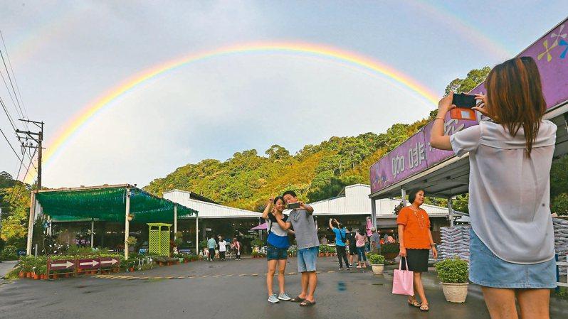 受到東北季風及米塔颱風外圍環流影響,桃園山區昨天傍晚時出現難得一見的雙彩虹奇景,民眾紛紛拿起手機拍照合影。 記者杜建重/攝影