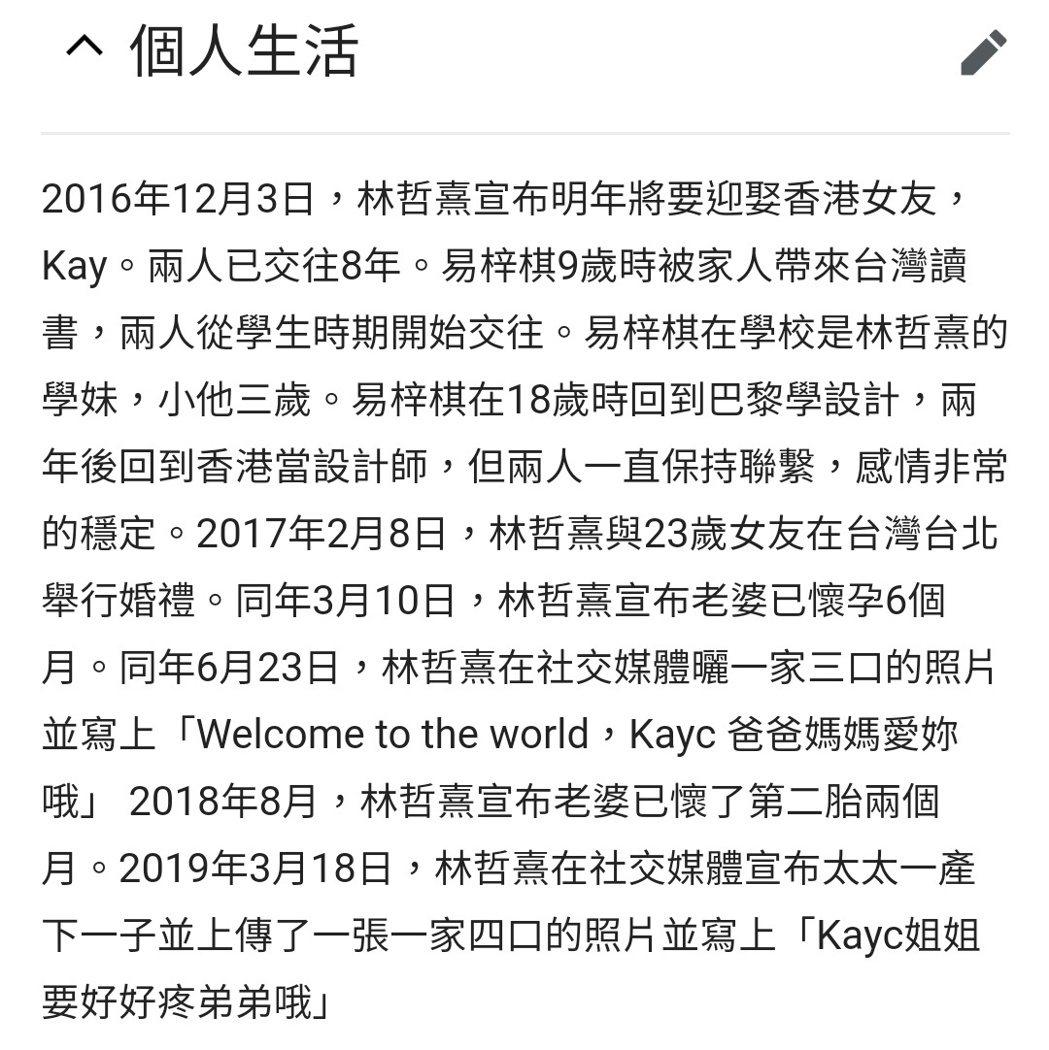 林哲熹被維基百科宣布結婚了。 圖/擷自維基百科