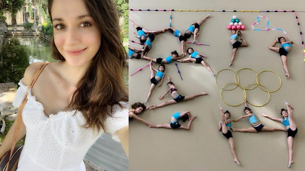 瑞莎與韻律體操隊小朋友們一同挑戰真人開箱文。 圖/擷自瑞莎臉書
