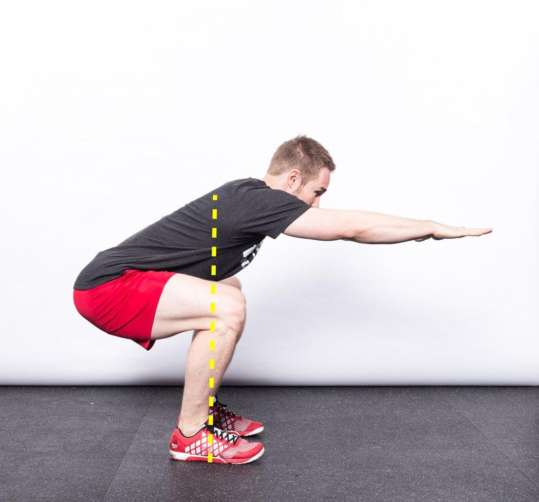 維持腳底三點與地板接觸,向前看同時將雙手置於身體前方。 圖/摘自《強肌深蹲:美國...