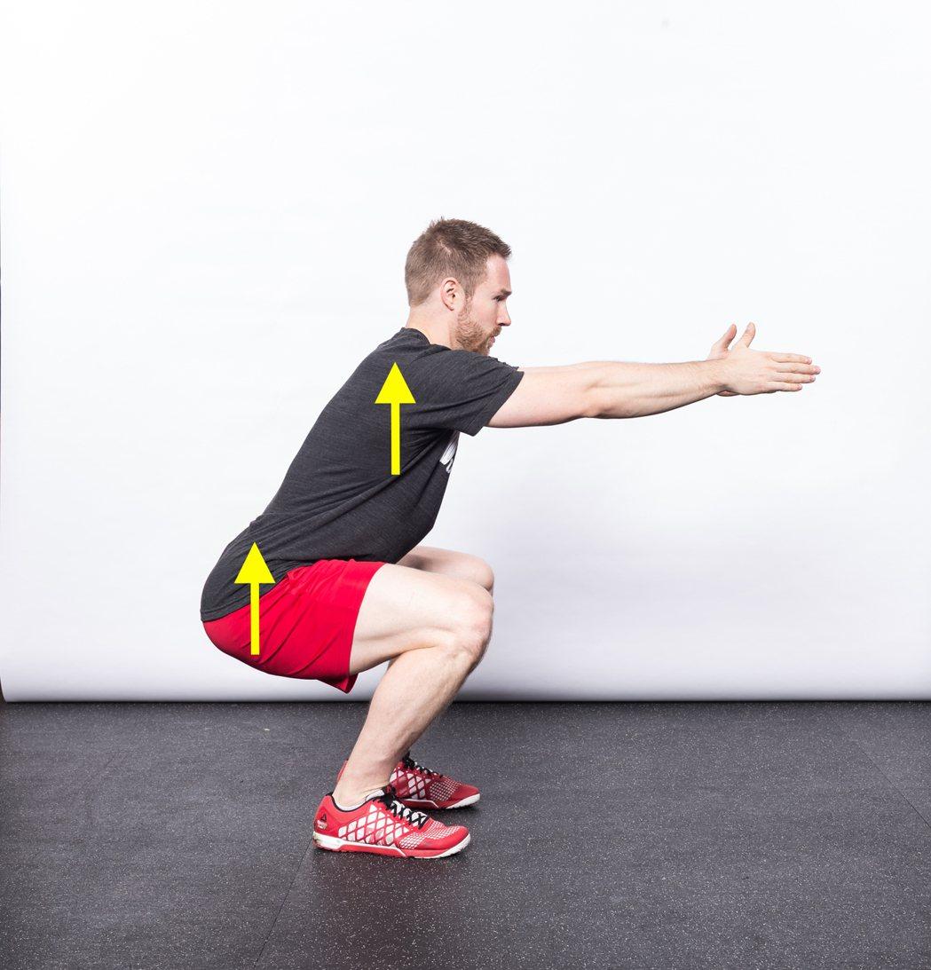 在深蹲上升時,上半身和臀部穩定上升。 圖/摘自《強肌深蹲:美國國家級運動員指導教...