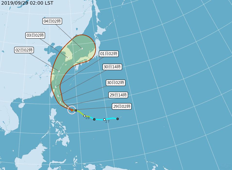 中央氣象局最新路徑潛勢預測圖顯示,米塔沿著太平洋高壓邊緣前進,今天向西北西逼近巴...