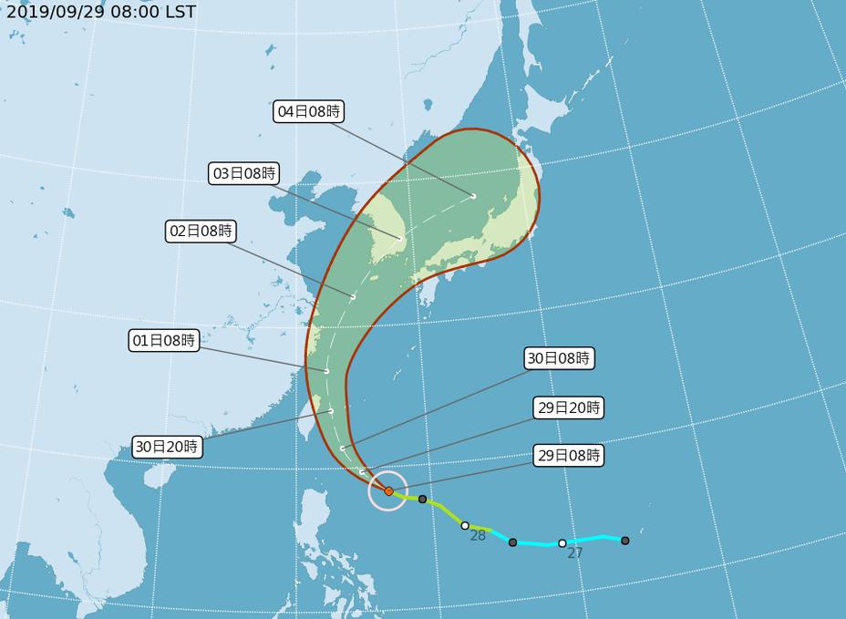 第18號颱風米塔路徑潛勢。圖/取自氣象局網站