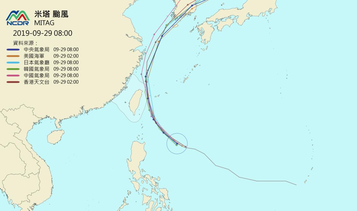 米塔颱風各國路徑預測。圖/取自NCDR天氣與氣候監測網