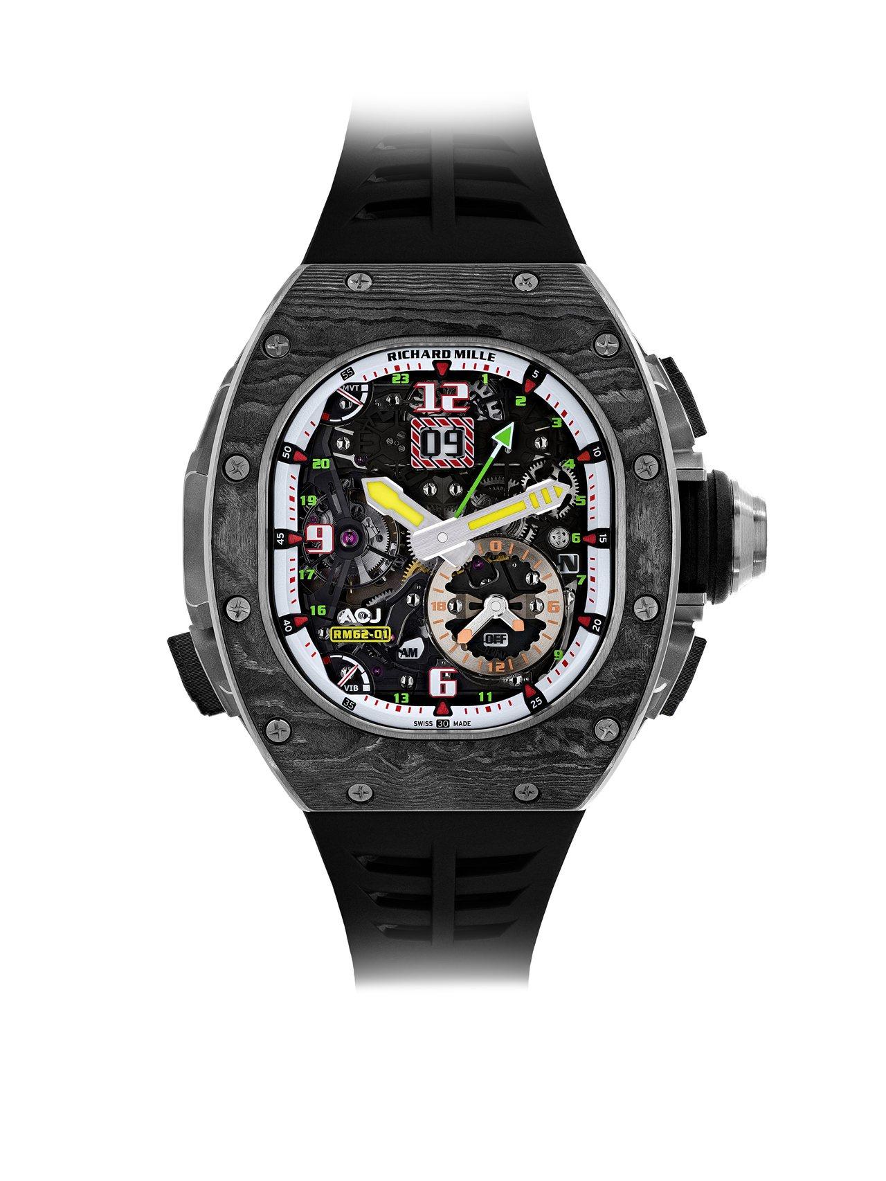 RICHARD MILLE RM 62-01 ACJ陀飛輪振動鬧鈴腕表,鈦合金與...