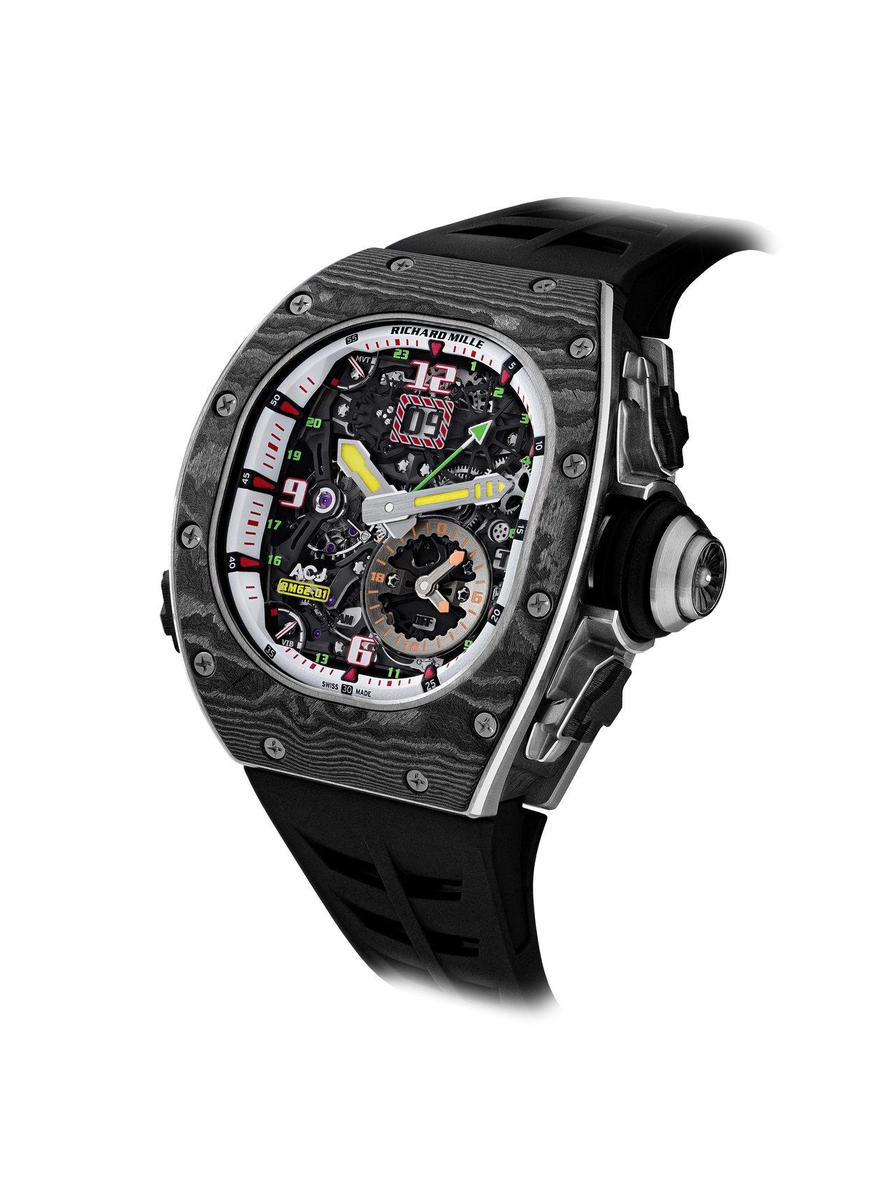 RM 62-01 ACJ陀飛輪振動鬧鈴腕表具有雙層表圈,首先是由鈦合金表圈製成,...