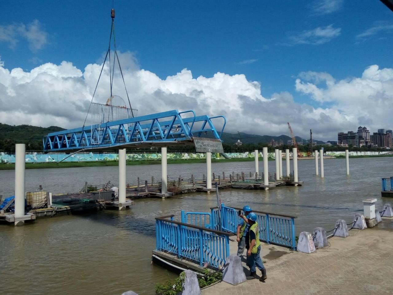 米塔颱風來勢洶洶,為了防洪準備,北市府針對北市10 座碼頭引橋、7座浮筒碼頭和6...