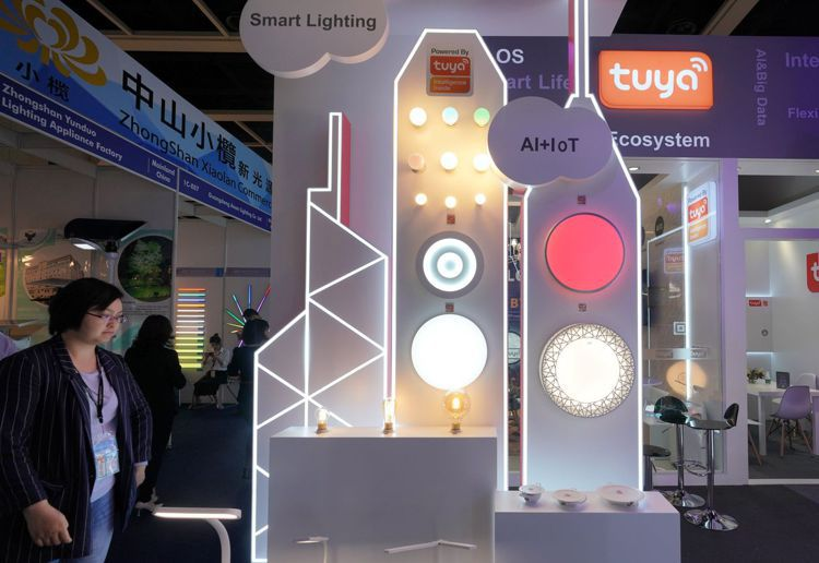 圖為香港展出的互聯網智能照明產品。中新社