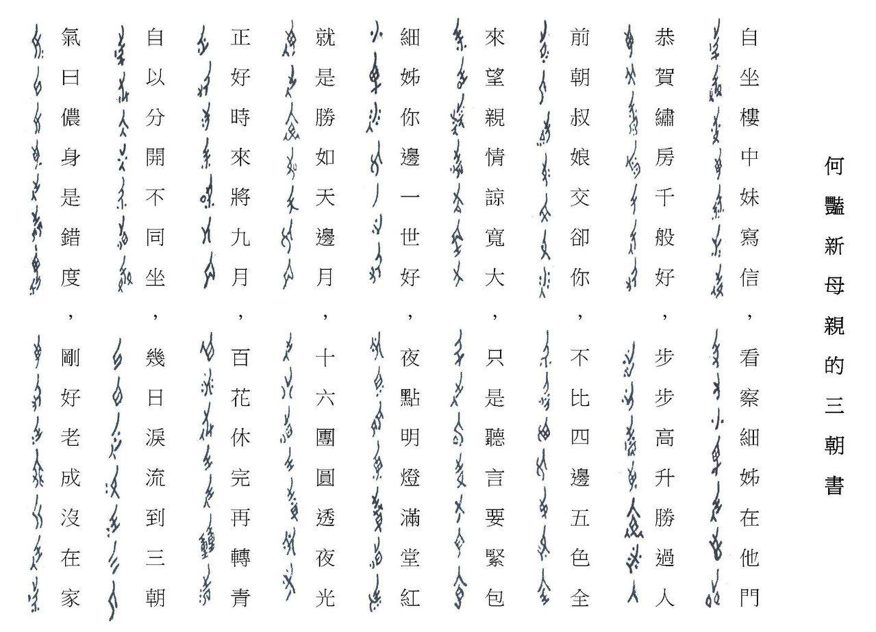 女書與漢字的對照。 圖片來源│劉斐玟