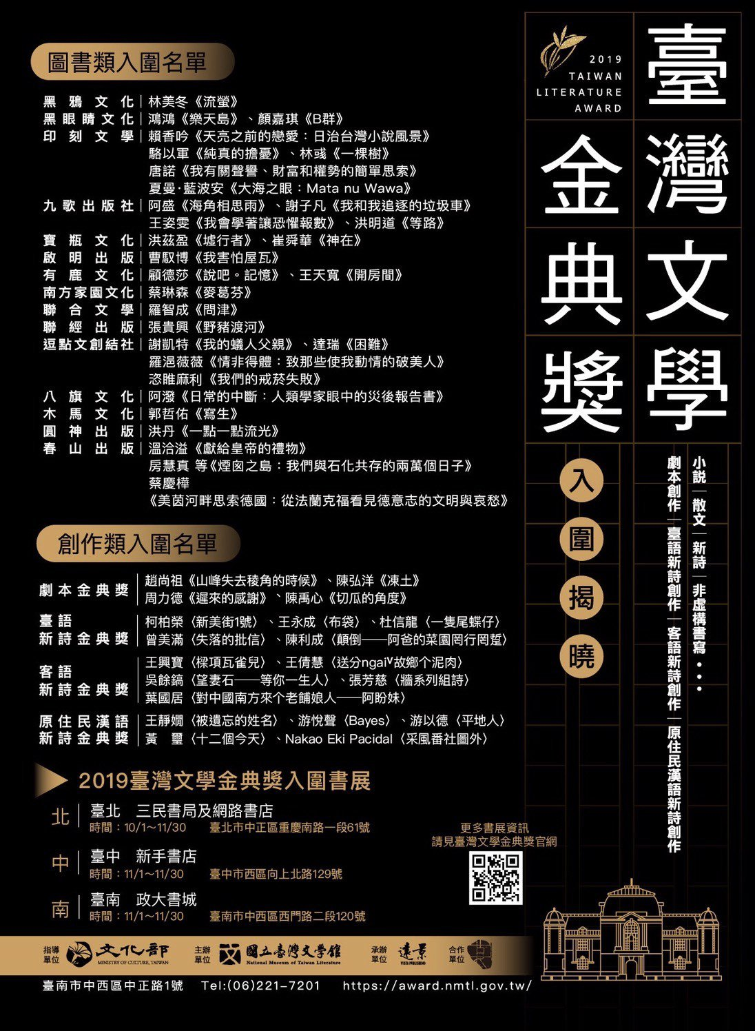 2019臺灣文學金典獎入圍名單。(圖/國立臺灣文學館 提供)