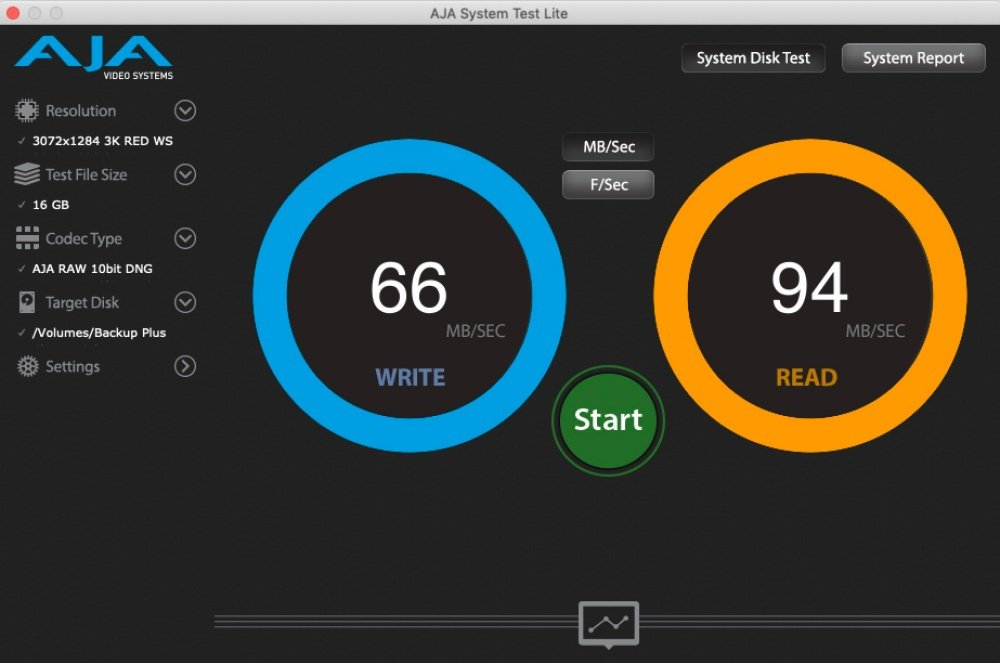 透過AJA測試寫入、讀取16GB檔案內容時的表現