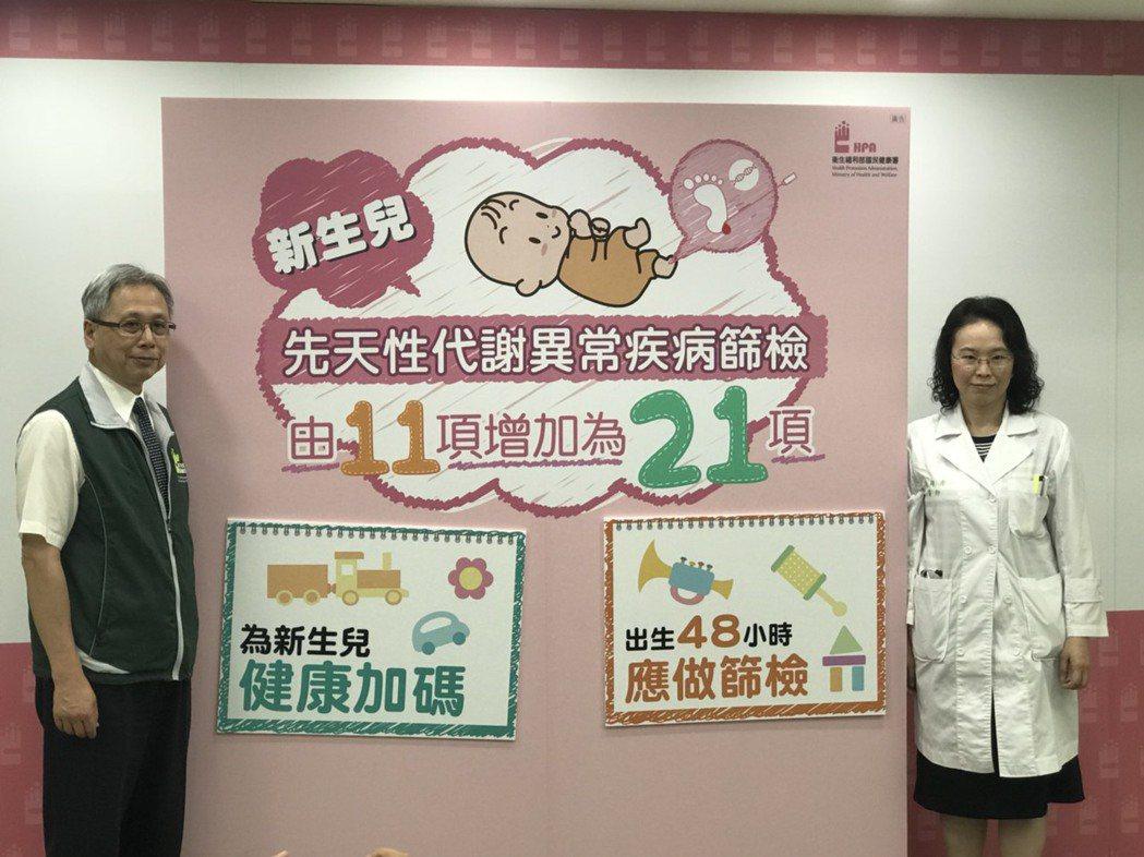 台大醫院基因醫學部主治醫師簡穎秀(右)表示,新生兒出生2至3天內,是最佳的黃金檢...