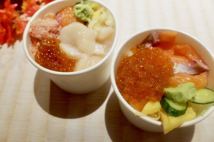 青山壽司青山四色丼480元、鮭魚親子丼380元。記者江佩君/攝影