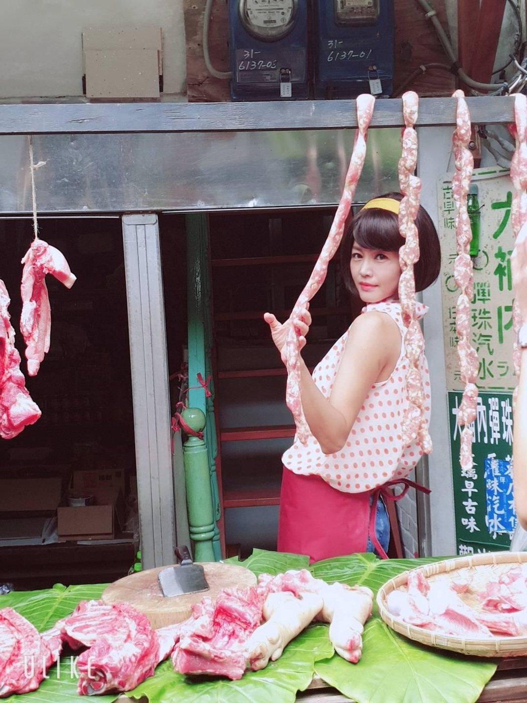 張䕒心在「多情城市」戲中飾演豬肉西施。圖/民視提供