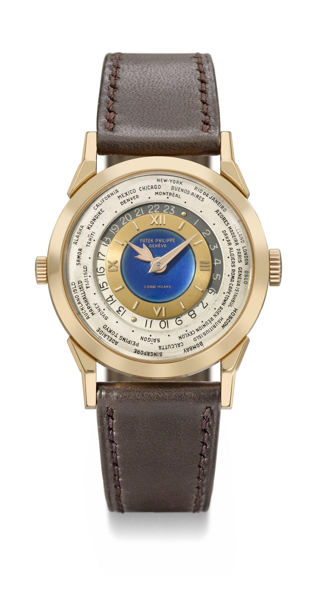 佳士得香港秋拍名表領銜的百達翡麗型號2523玫瑰金雙表冠世界時間腕表,估價約2億...