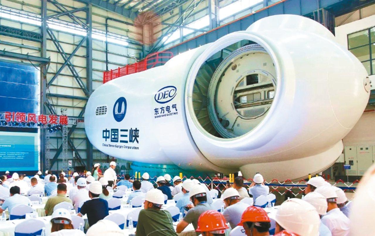 大陸首台10兆瓦海上風電機組,由德陽東電研製。 圖/本報四川德陽傳真