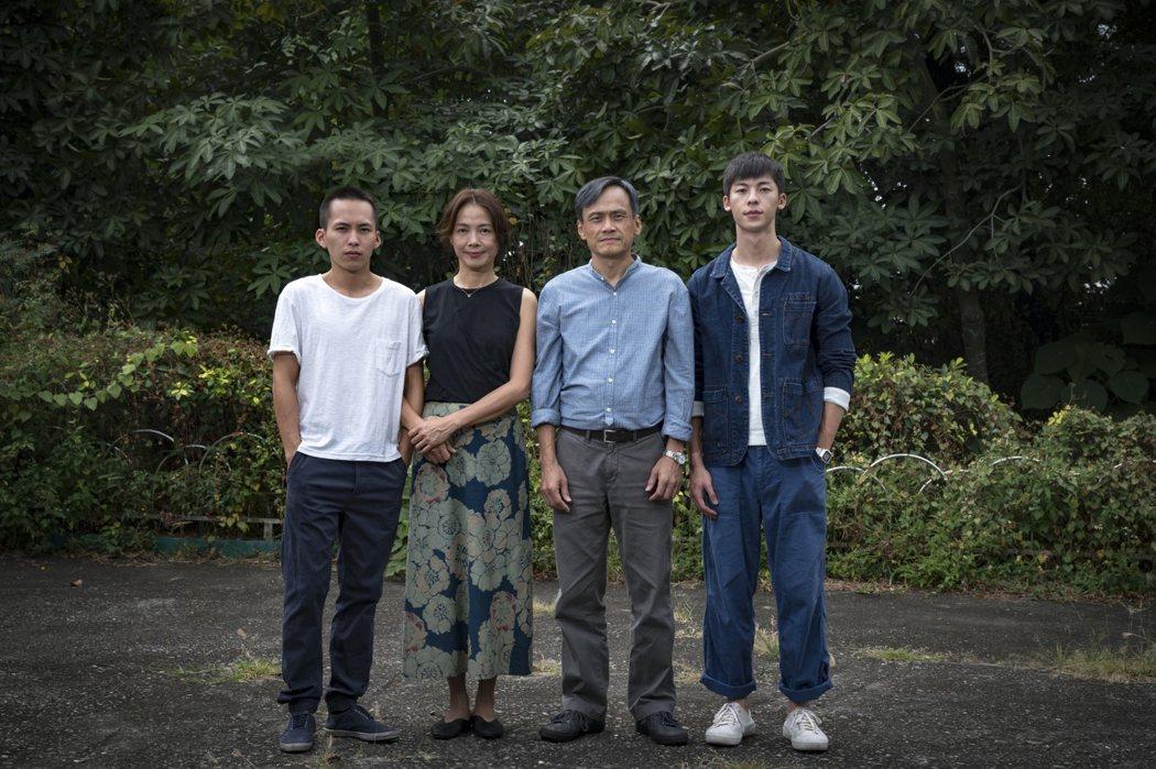 巫建和(左起)、柯淑勤、陳以文以及許光漢主演的「陽光普照」。圖/甲上提供