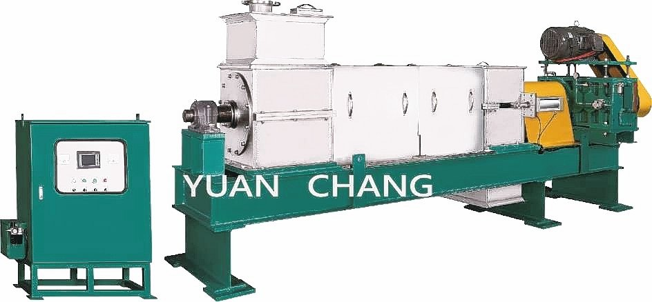 元錩推出「製程用重負荷型螺旋式擠壓脫水機」。 元錩公司/提供