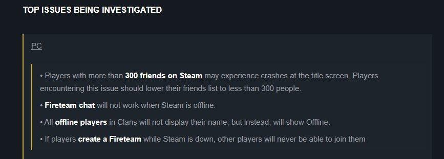 Steam好友人數過多,可能會造成遊戲閃退/圖片截自Bungie官方論壇
