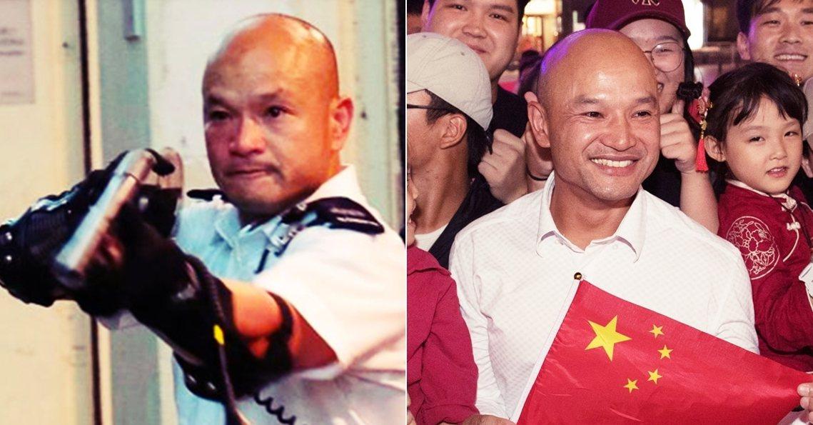 曾在反送中衝突一把抄起霰彈槍,近距離瞄準民眾的「光頭警長」劉澤基,赴京展開「國慶...