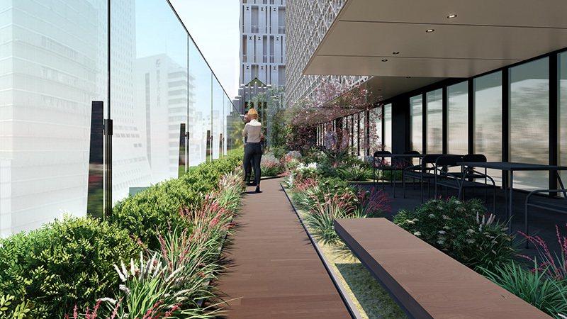 7樓設有戶外的露天陽台,能感受自然光與舒心的綠意。