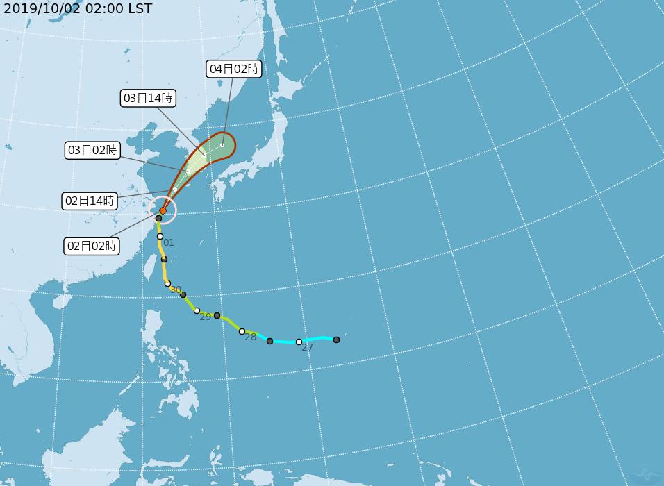 米塔颱風目前位於長江口附近,預計今天會加速往北北東、朝韓國方向前往進。圖/取自氣...