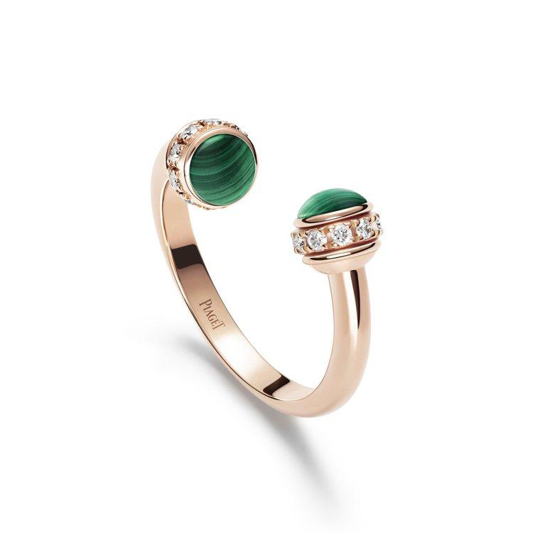 PIAGET Possession系列18K玫瑰金孔雀石鑲鑽戒指,90,000元...