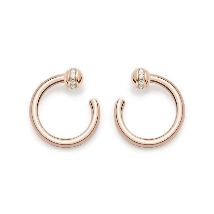 PIAGET Possession系列18K玫瑰金鑲鑽耳環,12萬1,000元。...