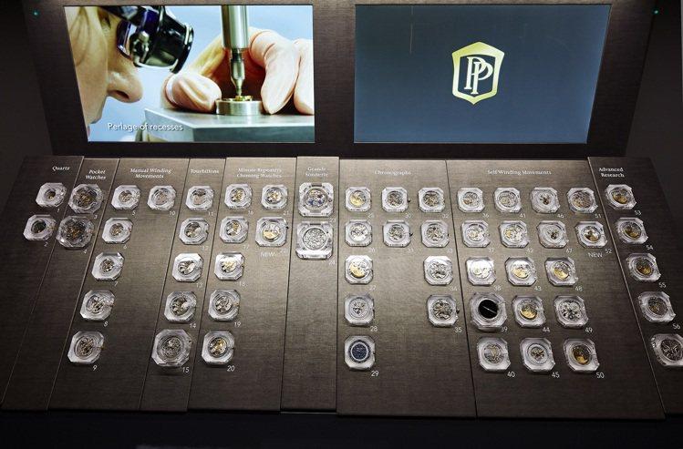 重中之重,十八個不同的機芯底座延伸出五十五種不同的機芯。圖/百達翡麗提供