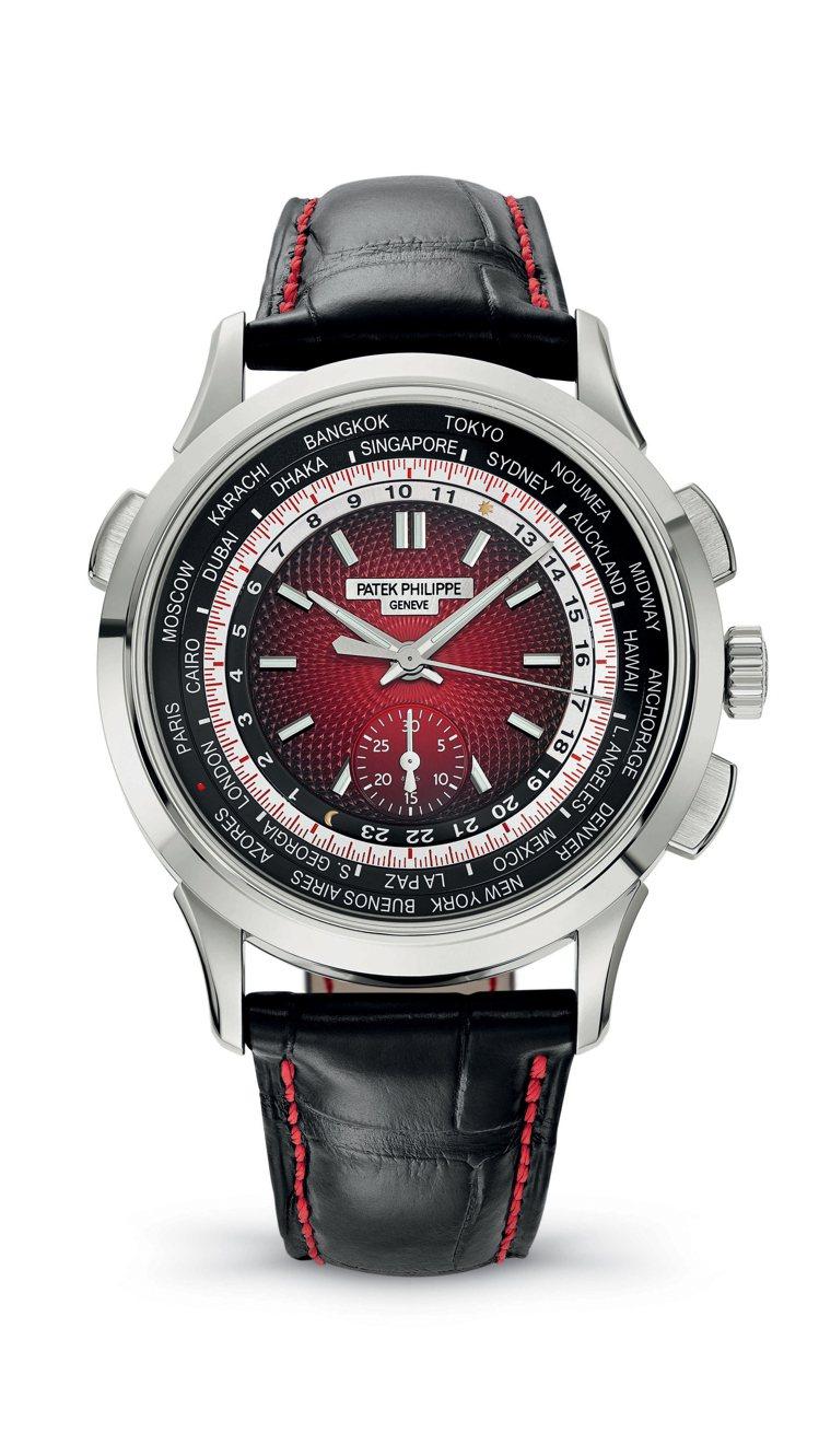 (新加坡限量款)綜合專利的世界時區與專利計時碼錶的5930G。圖/百達翡麗提供