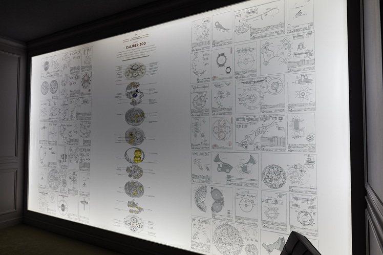 超級複雜功能腕錶的機芯分解圖。圖/百達翡麗提供